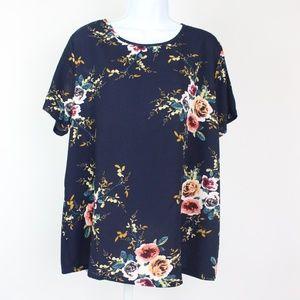 Tops - Navy blue floral short sleeve blouse orange yellow